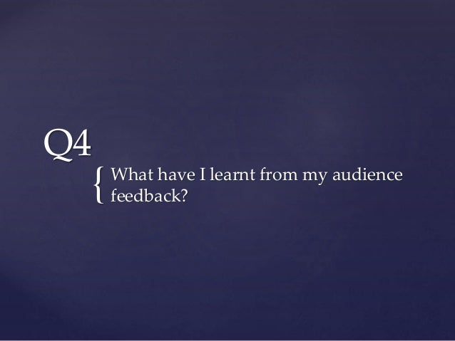 { Q4 What have I learnt from my audience feedback?