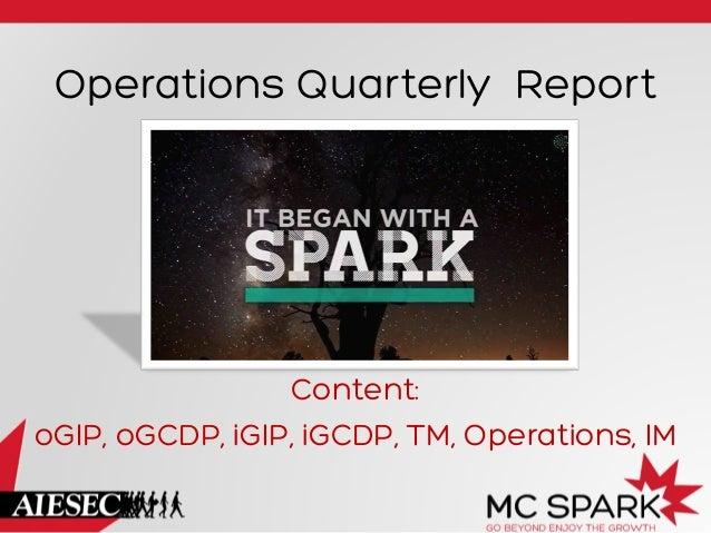 Operations Quarterly Report Content: oGIP, oGCDP, iGIP, iGCDP, TM, Operations, IM