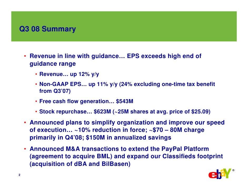eBay 2008, Q3 Earnings Slide 3