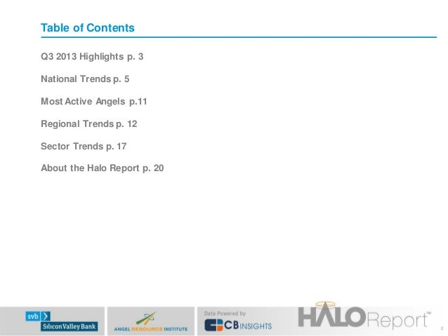 Table of Contents Q3 2013 Highlights p. 3 National Trends p. 5 Most Active Angels p.11 Regional Trends p. 12 Sector Trends...