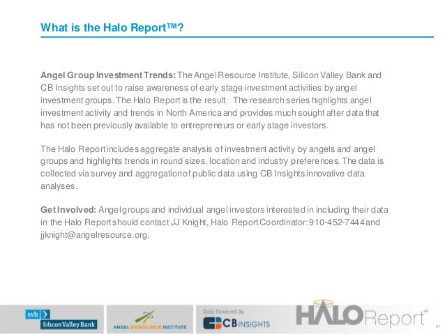 What is the Halo Report™?  Angel Group Investment Trends: The Angel Resource Institute, Silicon Valley Bank and CB Insight...