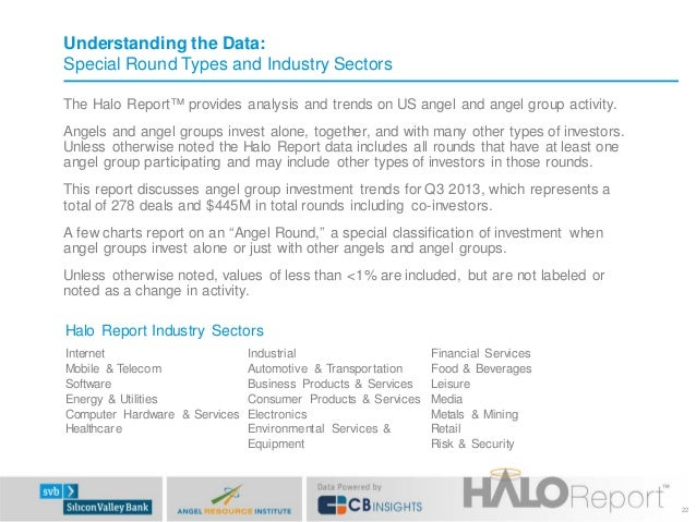 Understanding the Data: Special Round Types and Industry Sectors The Halo Report™ provides analysis and trends on US angel...