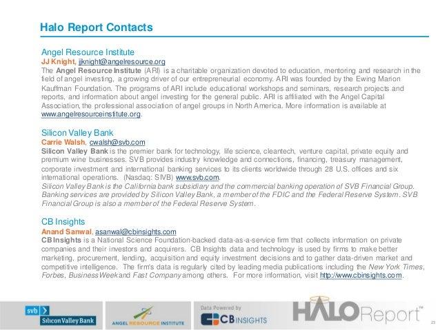 Halo Report Contacts Angel Resource Institute JJ Knight, jjknight@angelresource.org The Angel Resource Institute (ARI) is ...