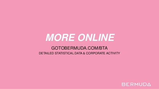 MORE ONLINE GOTOBERMUDA.COM/BTA DETAILED STATISTICAL DATA & CORPORATE ACTIVITY