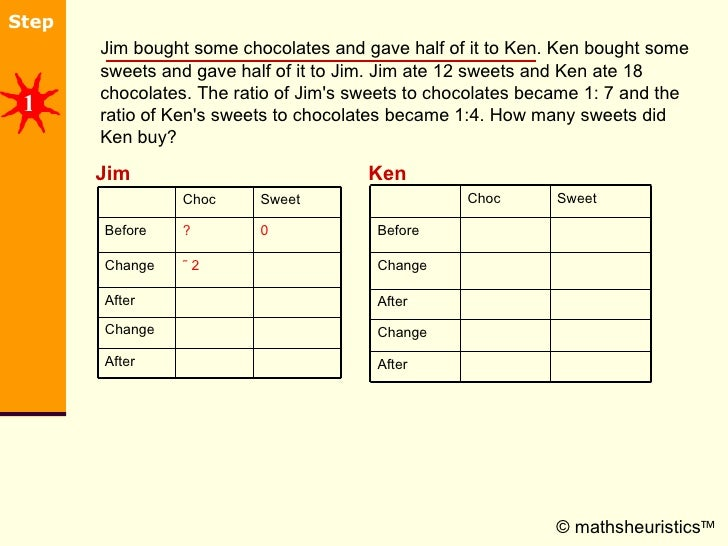 <ul><li>Jim bought some chocolates and gave half of it to Ken. Ken bought some sweets and gave half of it to Jim. Jim ate ...