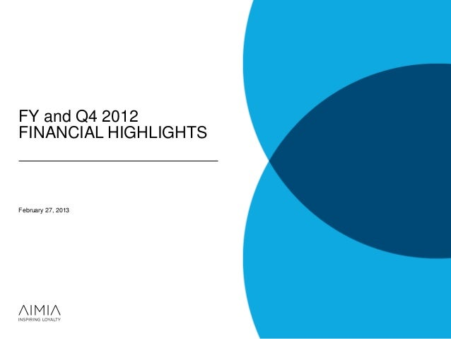FY and Q4 2012FINANCIAL HIGHLIGHTSFebruary 27, 2013