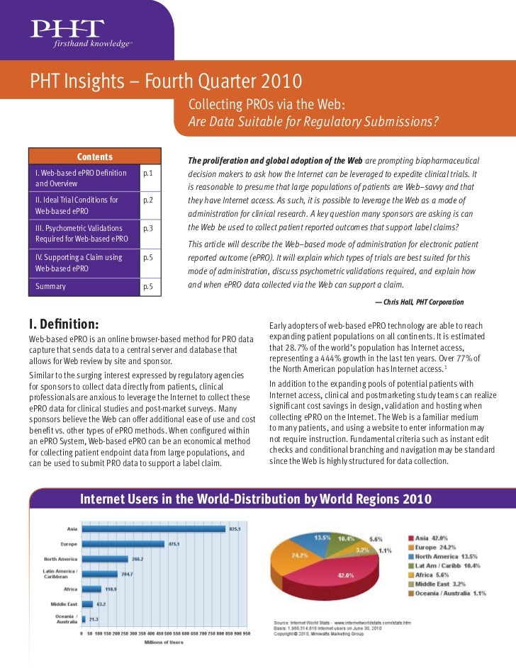 PHT Insights – Fourth Quarter 2010                                               Collecting PROs via the Web:             ...