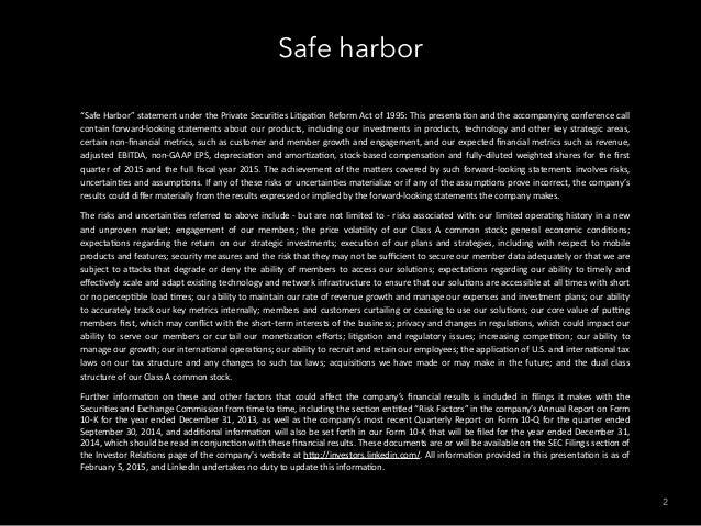 """Safe harbor 2 """"Safe  Harbor""""  statement  under  the  Private  Securi7es  Li7ga7on  Reform  Act  of  ..."""