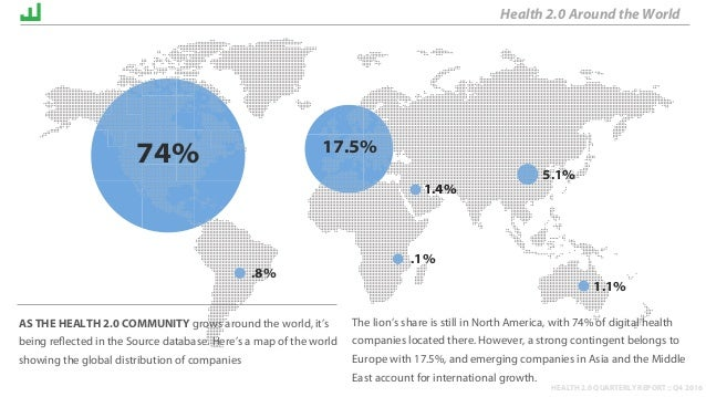 HEALTH 2.0 QUARTERLY REPORT :: Q4 2016 The lion's share is still in North America, with 74% of digital health companies lo...