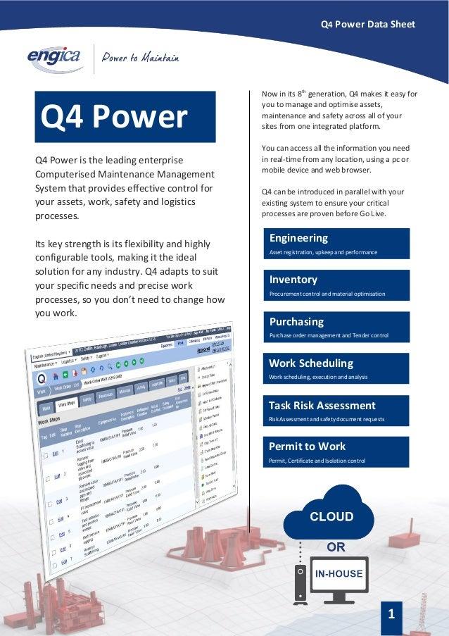 Q4 CMMS datasheet - Preventive Maintenance Software