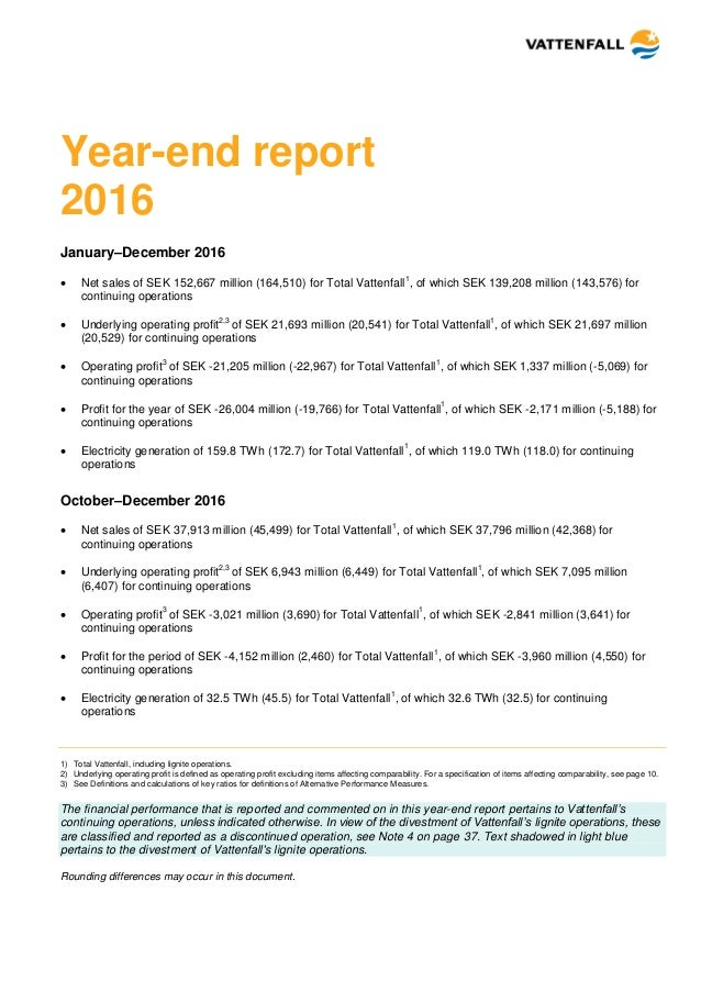 end of year financial report template - vattenfall 39 s year end report 2016