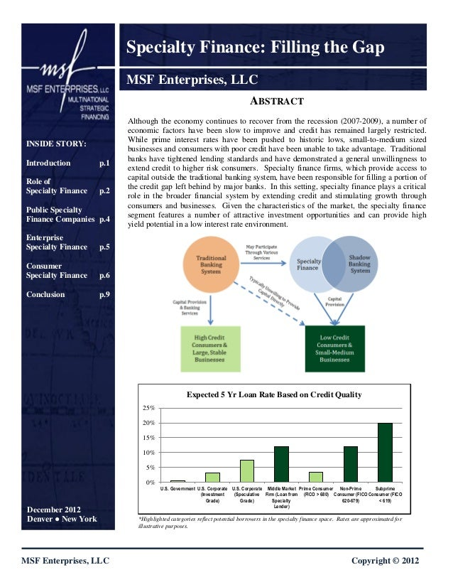 Specialty Finance: Filling the Gap                             MSF Enterprises, LLC                                       ...