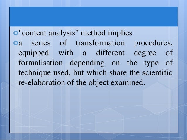 bernard berelson a content analysis media essay The material for content analysis can be books, book chapters, essays content, or digital media scientist bernard berelson in his book content analysis in.