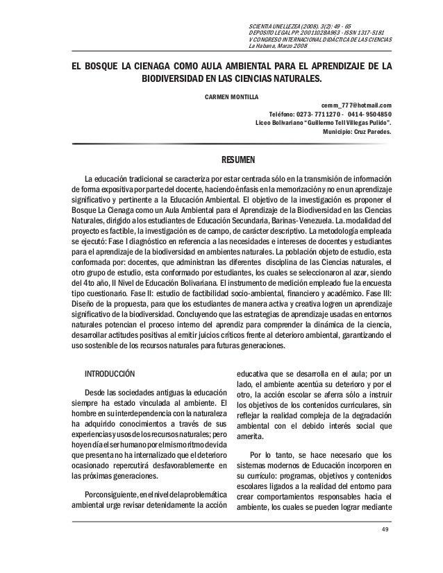 49 SCIENTIA UNELLEZEA (2008). 3(2): 49 - 65 DEPOSITO LEGAL PP: 2001102BA963 - ISSN 1317-5181 V CONGRESO INTERNACIONAL DIDÁ...