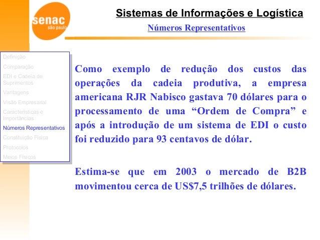 Sistemas de Informações e Logística Números Representativos Como exemplo de redução dos custos das operações da cadeia pro...