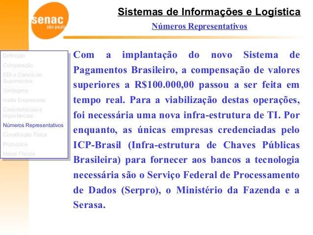 Sistemas de Informações e Logística Números Representativos Com a implantação do novo Sistema de Pagamentos Brasileiro, a ...