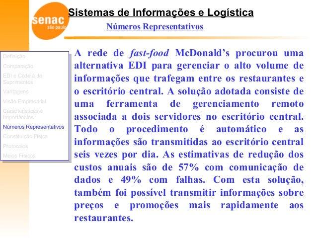 Sistemas de Informações e Logística Números Representativos A rede de fast-food McDonald's procurou uma alternativa EDI pa...