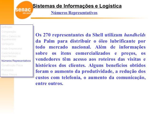 Sistemas de Informações e Logística Números Representativos Os 270 representantes da Shell utilizam handhelds da Palm para...