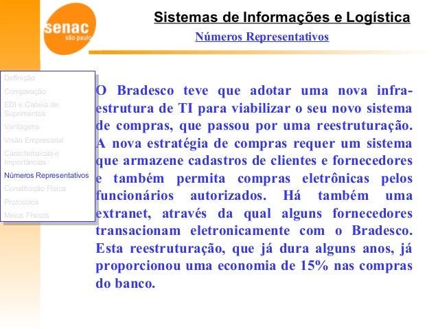 Sistemas de Informações e Logística Números Representativos O Bradesco teve que adotar uma nova infra- estrutura de TI par...