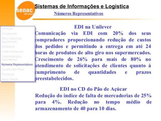 Sistemas de Informações e Logística Números Representativos EDI no CD do Pão de Açúcar Redução do índice de falta de merca...