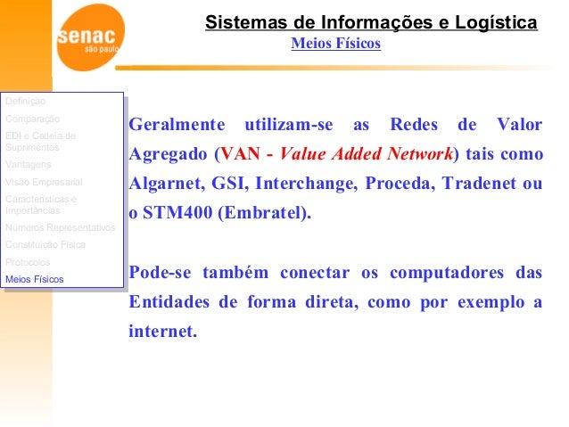 Sistemas de Informações e Logística Meios Físicos Geralmente utilizam-se as Redes de Valor Agregado (VAN - Value Added Net...