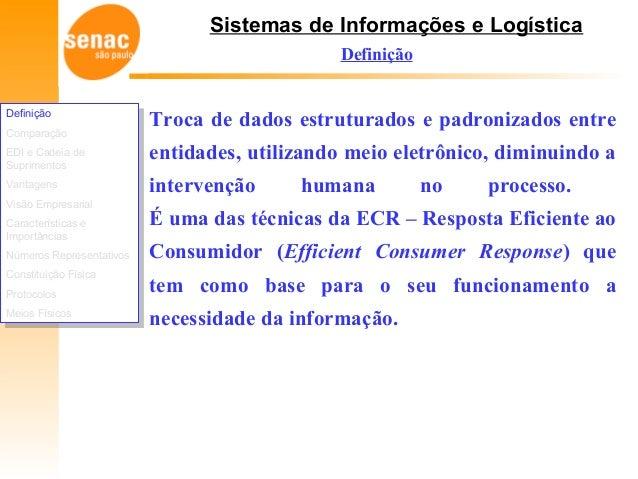 Sistemas de Informações e Logística Definição Comparação EDI e Cadeia de Suprimentos Vantagens Visão Empresarial Caracterí...