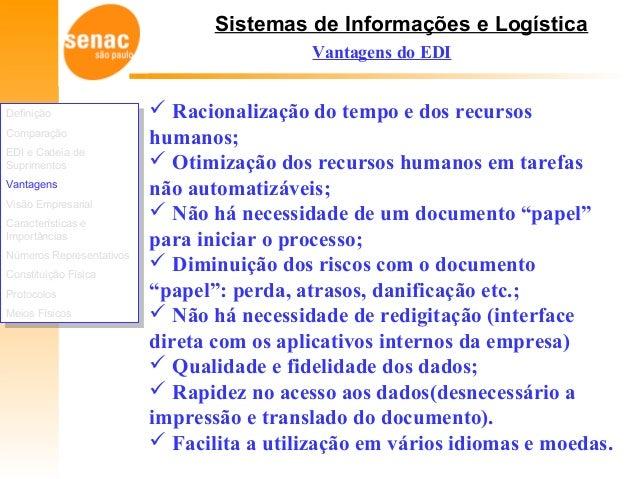 Sistemas de Informações e Logística  Racionalização do tempo e dos recursos humanos;  Otimização dos recursos humanos em...