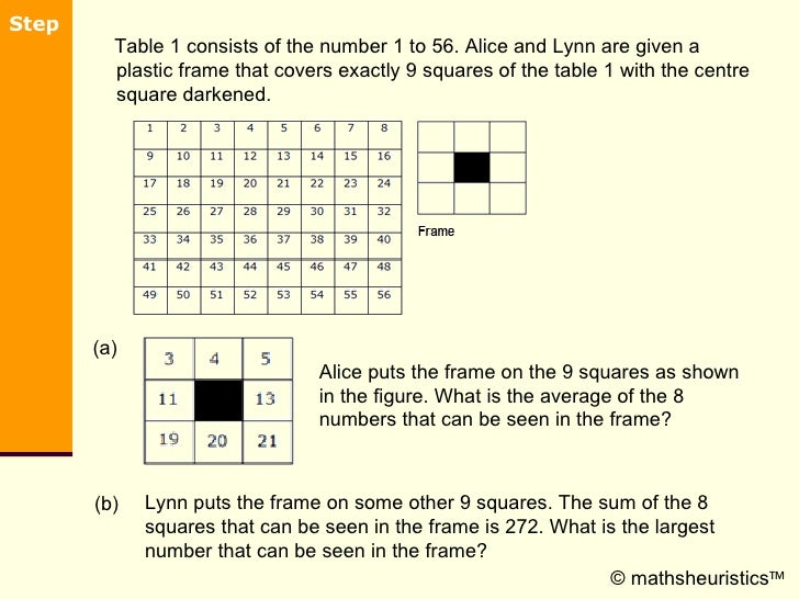 <ul><li>Table 1 consists of the number 1 to 56. Alice and Lynn are given a plastic frame that covers exactly 9 squares of ...
