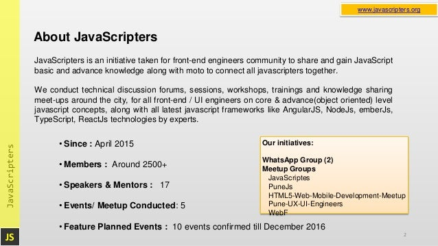 JavaScripters Event Sep 17, 2016 · 2:00 PM: Scalable
