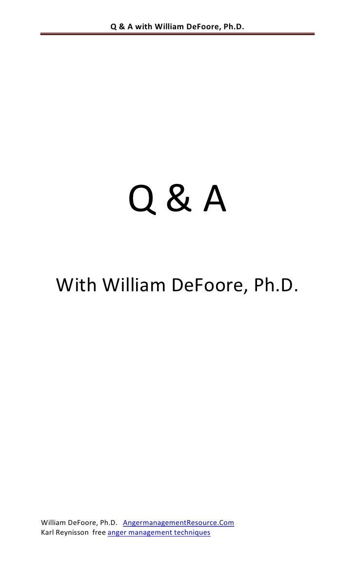 Q & A with William DeFoore, Ph.D.                           Q&A    With William DeFoore, Ph.D.     William DeFoore, Ph.D. ...
