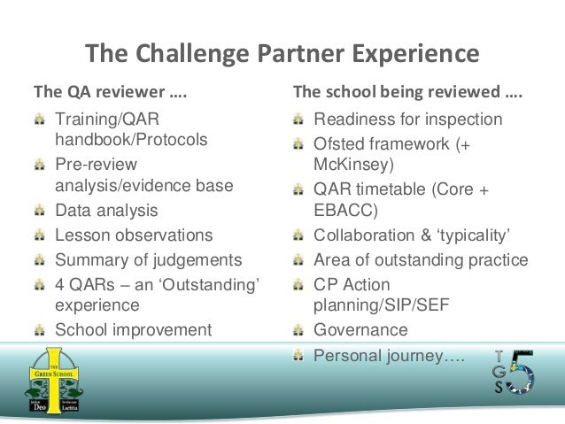 The Challenge Partner Experience The QA reviewer …. Training/QAR handbook/Protocols Pre-review analysis/evidence base Data...