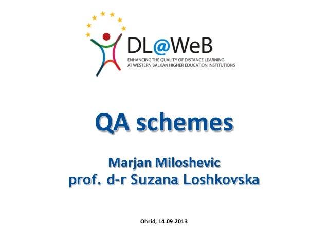 QA schemes Marjan Miloshevic prof. d-r Suzana Loshkovska Ohrid, 14.09.2013