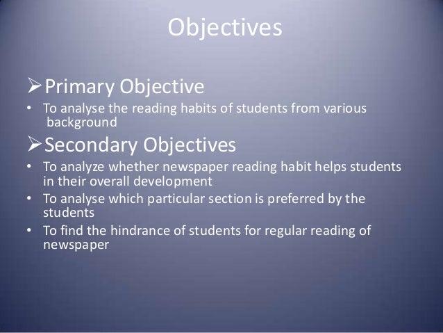 objectives of reading habits