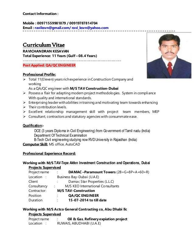 qa qc civil engineer resume