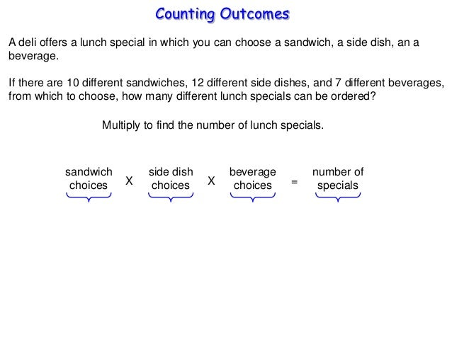 Counting Outcomes A deli offers a lunch special in which you can choose a sandwich, a side dish, an a beverage. If there a...