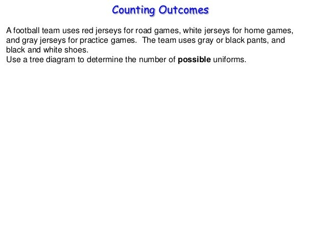 Counting Outcomes A football team uses red jerseys for road games, white jerseys for home games, and gray jerseys for prac...