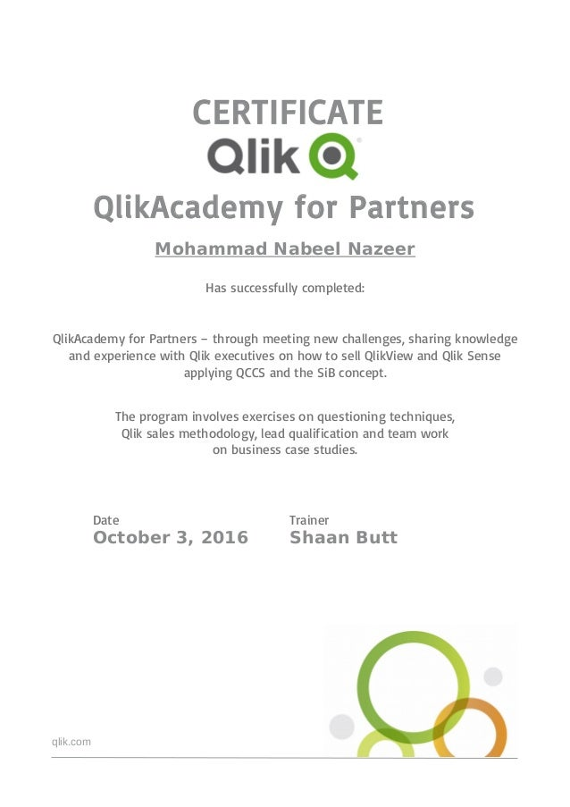 QlikAcademy for Partners Certificate