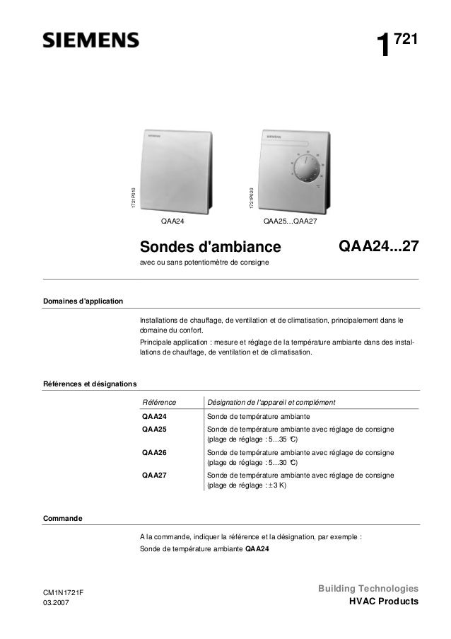 1721P020  1721P010  1  721  QAA24  QAA25…QAA27  QAA24...27  Sondes d'ambiance avec ou sans potentiomètre de consigne  Doma...