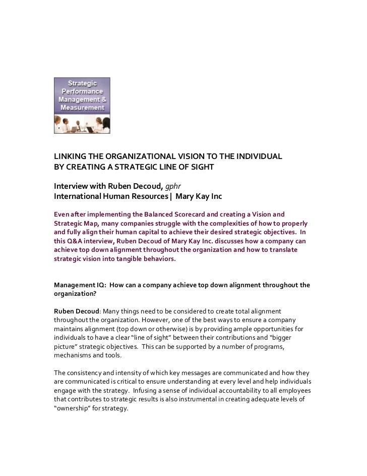 LINKINGTHEORGANIZATIONALVISIONTOTHEINDIVIDUALBYCREATINGASTRATEGICLINEOFSIGHTInter...