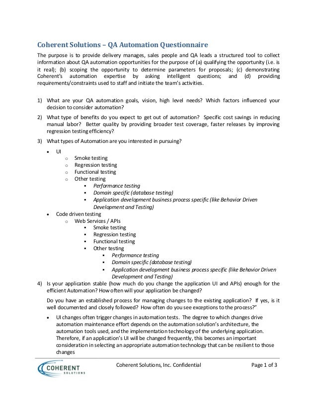 Coherent Solutions, Inc. Confidential Page 1 of 3 Coherent Solutions – QA Automation Questionnaire The purpose is to provi...
