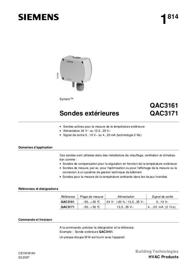 181401  1  814  Symaro™  QAC3161 QAC3171  Sondes extérieures • Sondes actives pour la mesure de la température extérieure ...