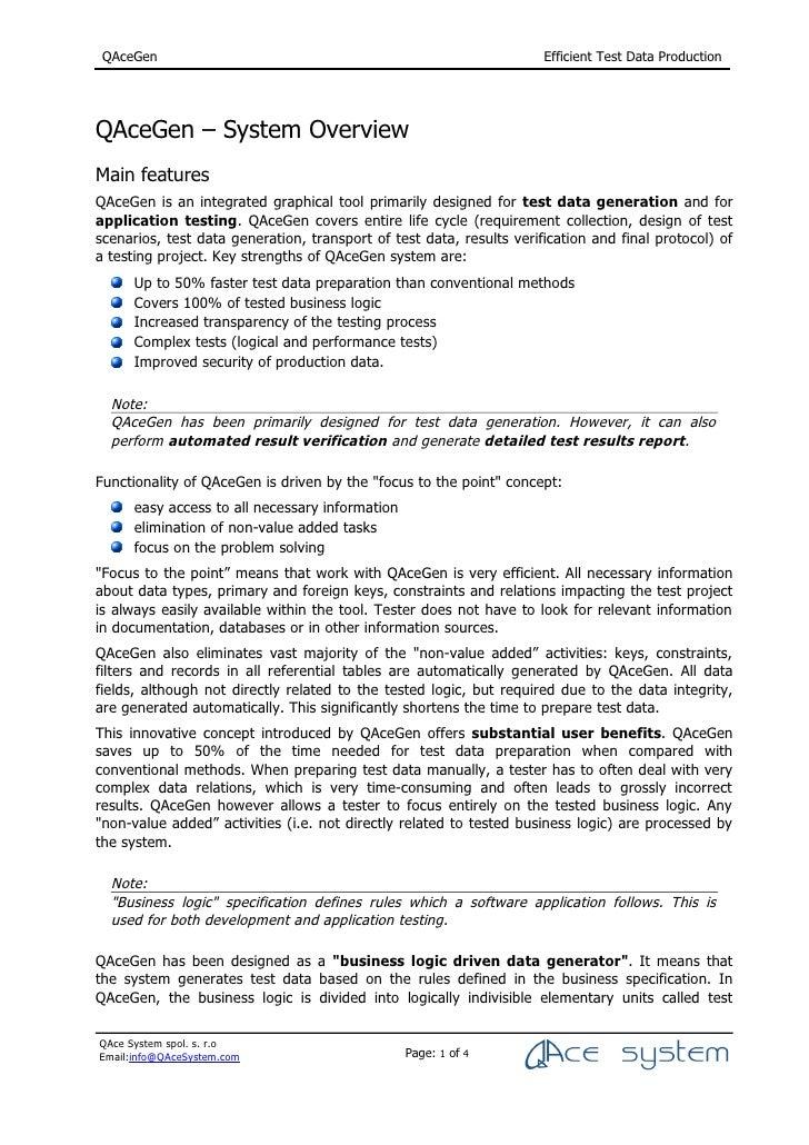 QAceGen                                                              Efficient Test Data Production     QAceGen – System O...