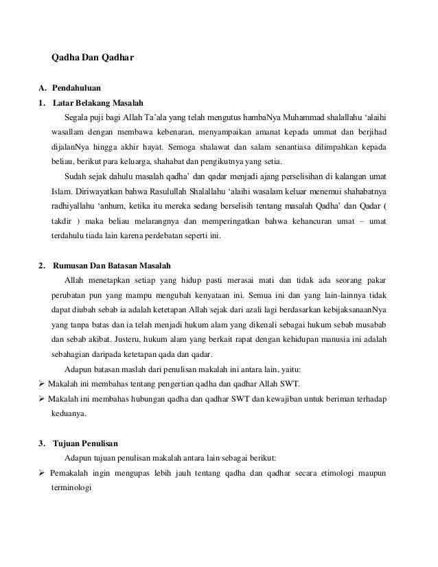 Contoh Makalah Qada Dan Qadar Download Contoh Lengkap Gratis