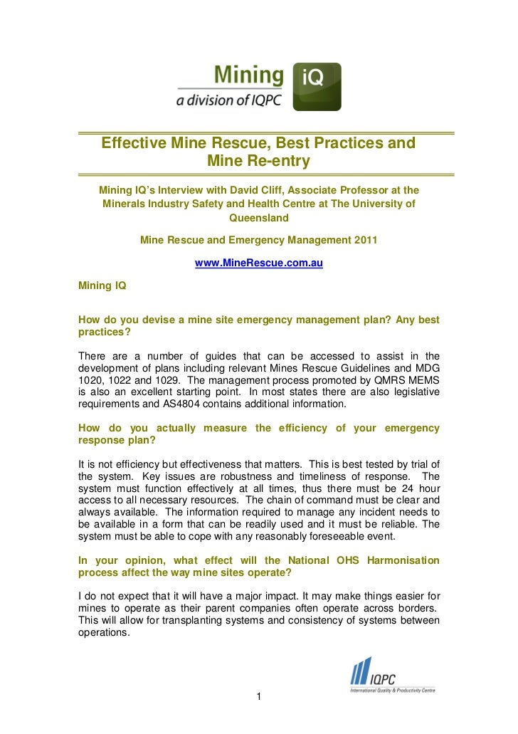 Effective Mine Rescue, Best Practices and                   Mine Re-entry    Mining IQ's Interview with David Cliff, Assoc...