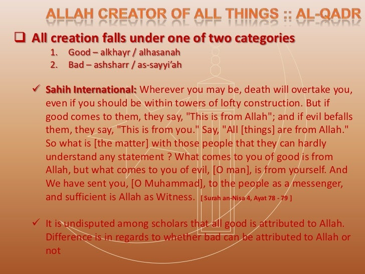 The belief of Ahl As-Sunnah is ::    We cannot generalize a statement affirming or negating that Allah wills bad     spe...