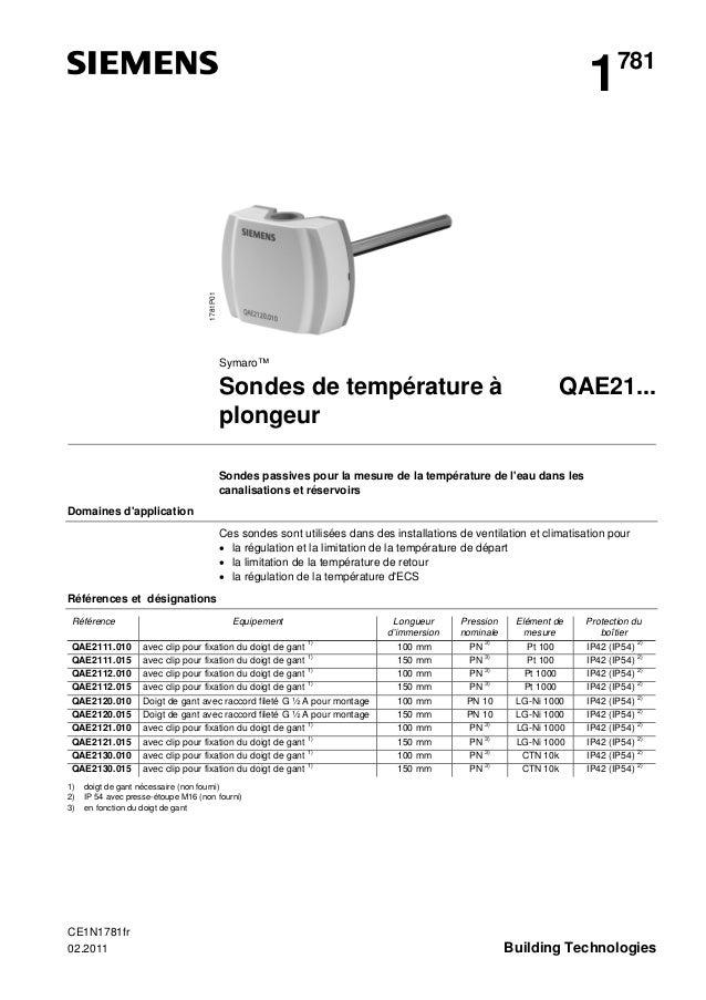 1781P01  1  781  Symaro™  Sondes de température à plongeur  QAE21...  Sondes passives pour la mesure de la température de ...