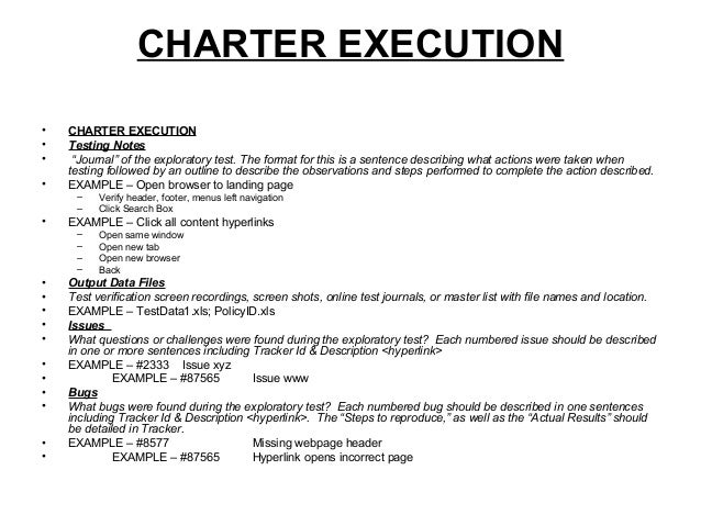 Qa exploratory test charter template