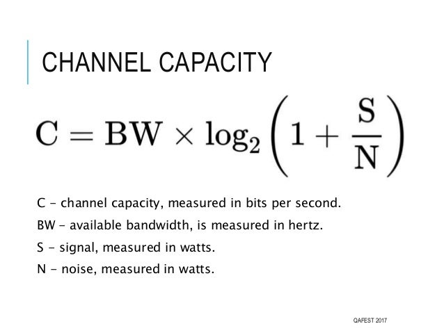 CHANNEL CAPACITY C - channel capacity, measured in bits per second. BW - available bandwidth, is measured in hertz. S - si...