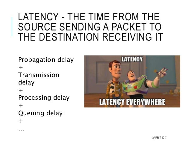 LATENCY - THE TIME FROM THE SOURCE SENDING A PACKET TO THE DESTINATION RECEIVING IT QAFEST 2017 Propagation delay + Transm...