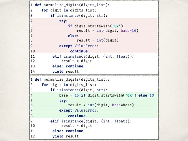 1 def normalize_digits(digits_list): 2 for digit in digits_list: 3 if isinstance(digit, str): 4 base = 16 if digit.startsw...